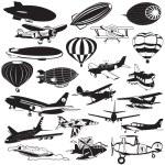 Airship black icons — Stock Vector #52581003