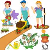 Gardener illustrations — Stock Vector