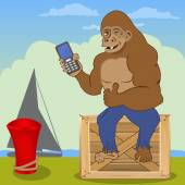 Gorilla with cellphone — Vecteur