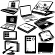 Laptop y tablet negro iconos — Vector de stock  #53567725