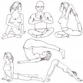 Fitness yoga positions — Wektor stockowy