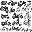 Bicycle and motorcycle black icons — Stock Vector #55623459