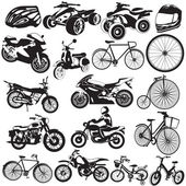 Bicycle and motorcycle black icons — Wektor stockowy