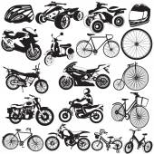 Bicycle and motorcycle black icons — Cтоковый вектор