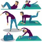 Vrouw doen aerobics — Stockvector