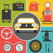 Car travel icons — Stockvektor