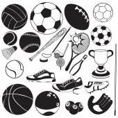 Sport ball black vector icons — Stock Vector