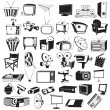 Tv video and camera black icons — Stock Vector #64731593