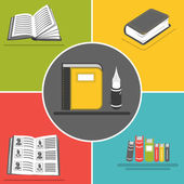 Book flat icons — Stock Vector
