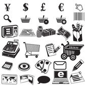 Shopping black icons — Stock Vector
