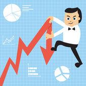 Climbing on a growing graph — Stock Vector