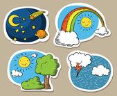 Cartoon sky stickers — Stok Vektör