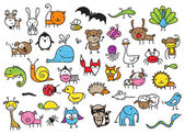 Kid's drawings of animals — Stock Vector
