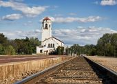 Train depot with empty tracks — Stock Photo