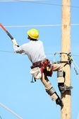 Electrical lineman student working — Stock Photo