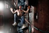 Man falling off the roof — Stock Photo