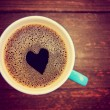 Cup of coffee with heart shape — Stock Photo #53617037