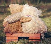 Two teddy bears on bench — Stock Photo