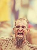 Scruffy man yelling — Stock Photo