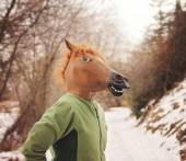 Woman in horse head mask — Stock Photo