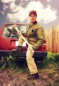 Redneck man with axe — Stock Photo