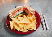 Turkey sandwich with tortilla chips — Stock Photo