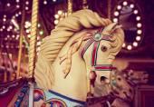 Merry-go-round wooden horse — Stock Photo