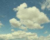 Vintage image of blue sky with clouds. — Stock Photo