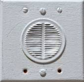 Close-up of building intercom on a wall — Stock Photo