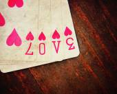 Playing cards with the word love — Foto Stock