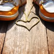 Shoes with laces in heart shape — Stock Photo #59131387