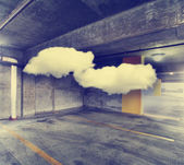 Garage with clouds of smoke — Stock Photo