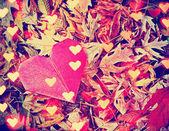 Origami-Herz und Blätter — Photo