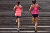Fitness women running steps — Stock Photo