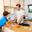 Father preparing his son's lunch — Stock Photo #74973751