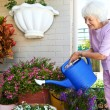 Retired woman watering her plants — Stock Photo #74975227