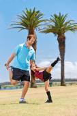 Soccer dad and daughter — Stock Photo