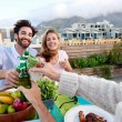 Friends toasting to celebration with drinks — Stock Photo #74980353