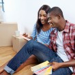 African couple deciding on colour swatch — Stock Photo #74985037