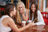 Teen friends out for coffee — Stock Photo