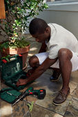 Drilling handyman — Stock Photo