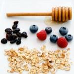 Breakfast ingredients on p — Stockfoto #80883640