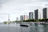 Paris, barge on the Seine and Eiffel tower — Stock Photo