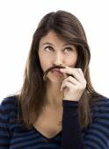 Woman making a moustache — Stock Photo