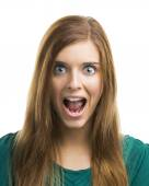 Beautiful young woman shouting — Stock Photo