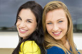 Two young girls smiling — Stock Photo