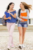 Teenage students walking together in the school — Stock Photo