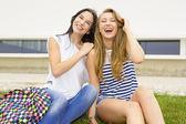 Teenage students in the school — Stock Photo