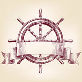 Ship steering wheel vintage drawing vector illustration — Stock Vector