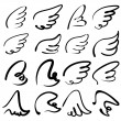Wings sketch collection cartoon vector illustration — Stock Vector #52583805